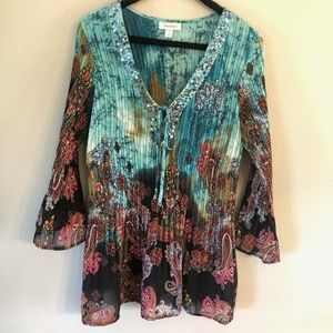 Paisley Stretch Tunic Bell Sleeve Top